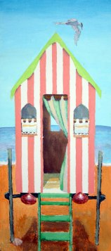 POA Beach Hut I, mixed media on panel