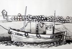 Buckie Boat, ink wash