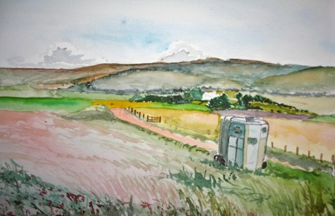 Horsebox, watercolour
